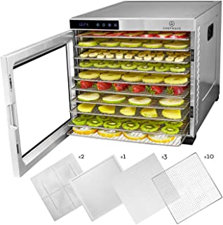 ChefWave 10 Tray Food Dehydrator Machine - Stainless Steel, Digital Temperature Control & Timer, 3 Teflon Sheets, 2 Mesh S...