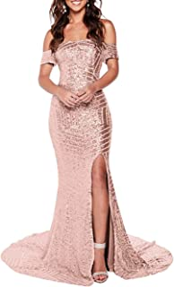 RYANTH Women`s Mermaid Sequins Prom Dresses 2020 Off Shoulder Evening Formal Gown R40