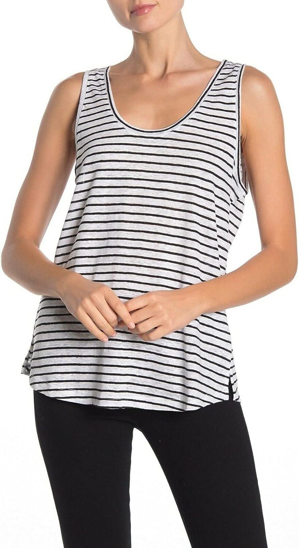 Sanctuary Womens Ruby Linen Striped Tank Top B/W XL White