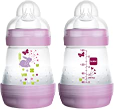MAM Easy Start Anti-Colic Bottle 5 oz (2-Count), Baby Essentials, Slow Flow Bottles with Silicone Nipple, Baby Bottles for Baby Girl, Pink