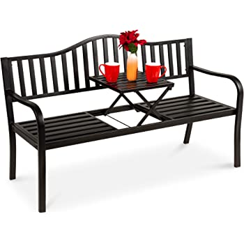 Best Choice Products Double Seat Steel Bench for Outdoor, Patio, Garden, Backyard w/Pullout Middle Table, Weather-Resistant Frame - Black