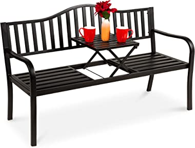 Best Choice Products Double Seat Steel Bench for Outdoor, Patio, Garden, Backyard w/Pullout Middle Table, Weather-Resistant F