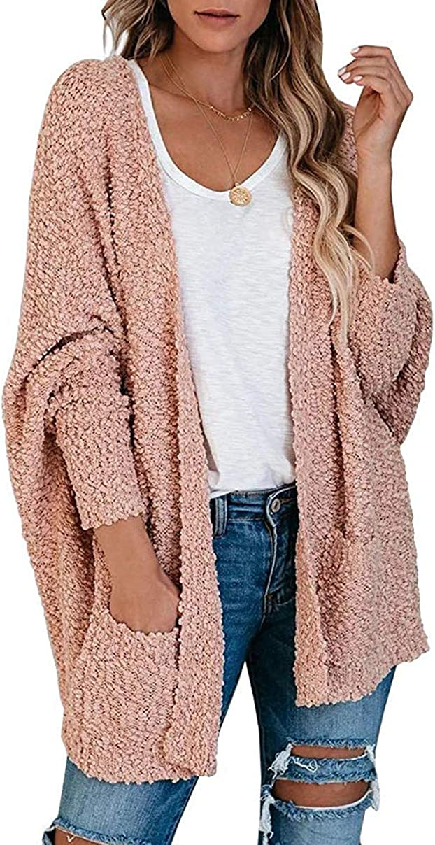Caracilia Women's Long Sleeve Soft Chunky Knit Sweater Open Front Cardigan Outwear with Pockets