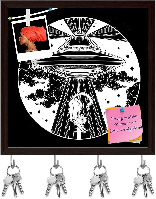 Artzfolio Alien Spaceship D3 Key Holder Hooks   Notice Pin Board   Dark Brown Frame 20 X 20Inch