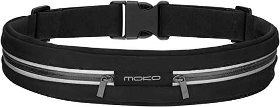MoKo Sports Running Belt, Outdoor Dual Pouch Sweatproof Reflective Slim Waist Pack, Fitness Workout Belt Fanny Pack Compatible with iPhone 12/12 Pro/12 Mini, iPhone 11 Pro Max/Xs, Galaxy S21