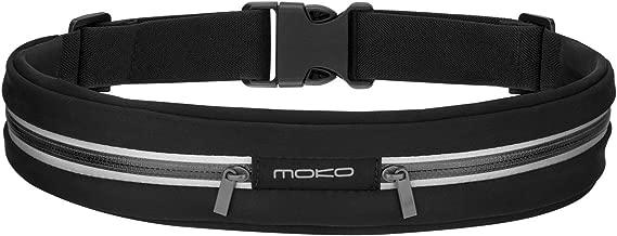 """MoKo Cintura da Corsa, Marsupio Sportivo Impermeabile con Fasce Riflettenti in Tela Regolabile con Doppia Tasca per iPhone Xs / XR, Galaxy S10/S10e,Nero (Compatibile con i cellulari fino a 6"""")."""