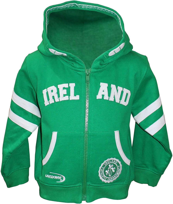 Full Zip Baby Hoodie With Ireland Design, Emerald Green Colour