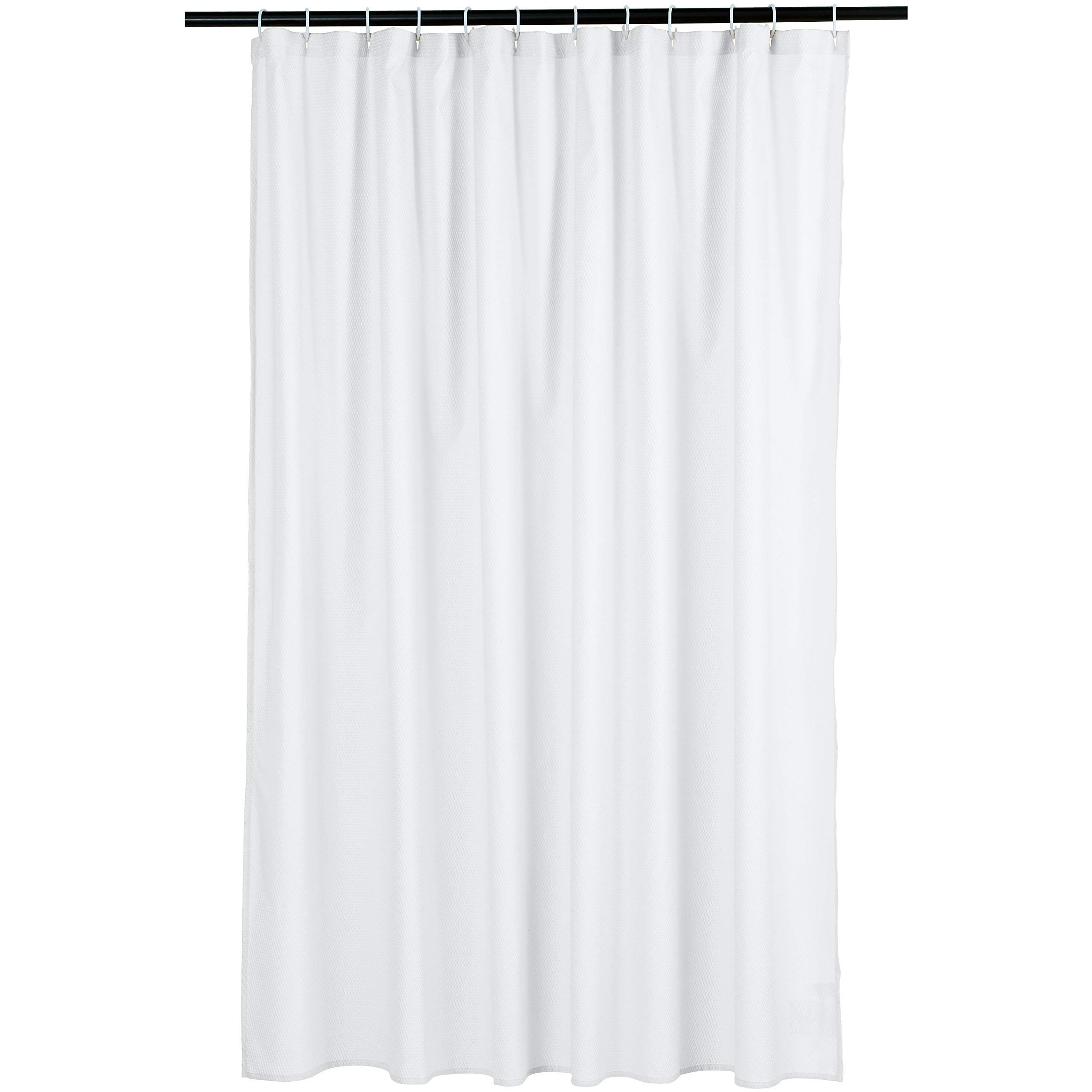 Amazon Basics Waffle Texture Bathroom Shower Curtain - White, 72 Inch