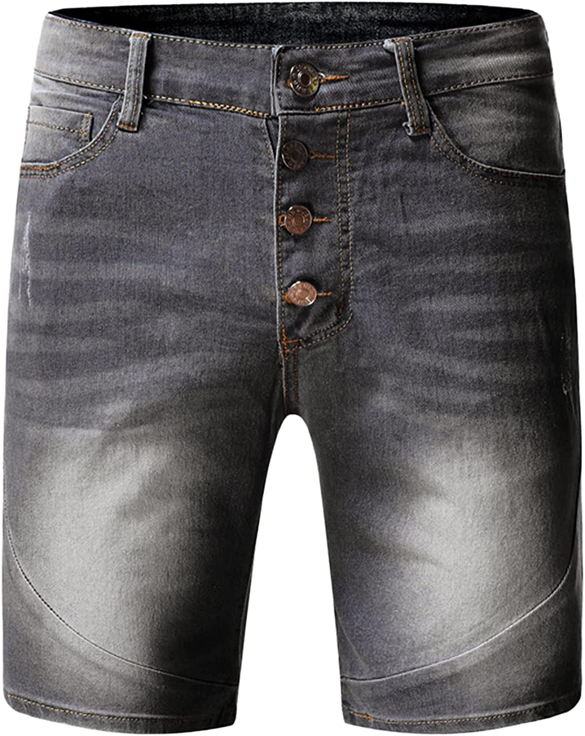 FUNEY Men's Classic Relaxed Fit Stretch Denim Shorts Fashion Casual Retro High Street Short Pants Jeans Modern Stylish