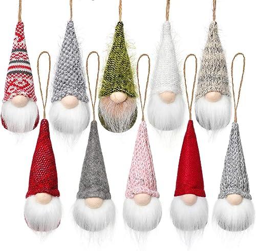Christmas Tree Hanging Gnomes Ornaments Set of 10, Swedish Handmade Plush Gnomes Santa Elf Hanging Home Decorations H...