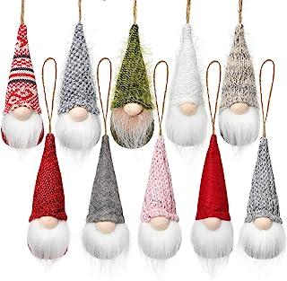 Christmas Tree Hanging Gnomes Ornaments Set of 10, Swedish Handmade Plush Gnomes Santa Elf Hanging Home Decorations Holida...