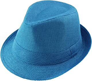 Queenbox Baby Linen Fedora Hat Infant Toddler Jazz Cap Kids Straw Sun Cowboy Hat