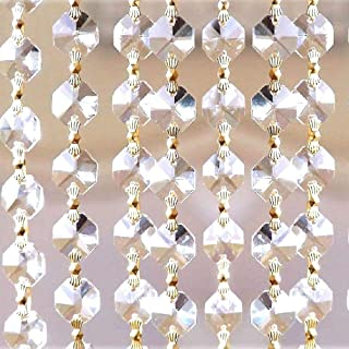 Asfour Gold Clear Crystal Garland, Octagon Cut Crystal Chain,14mm (Gold Finish) �