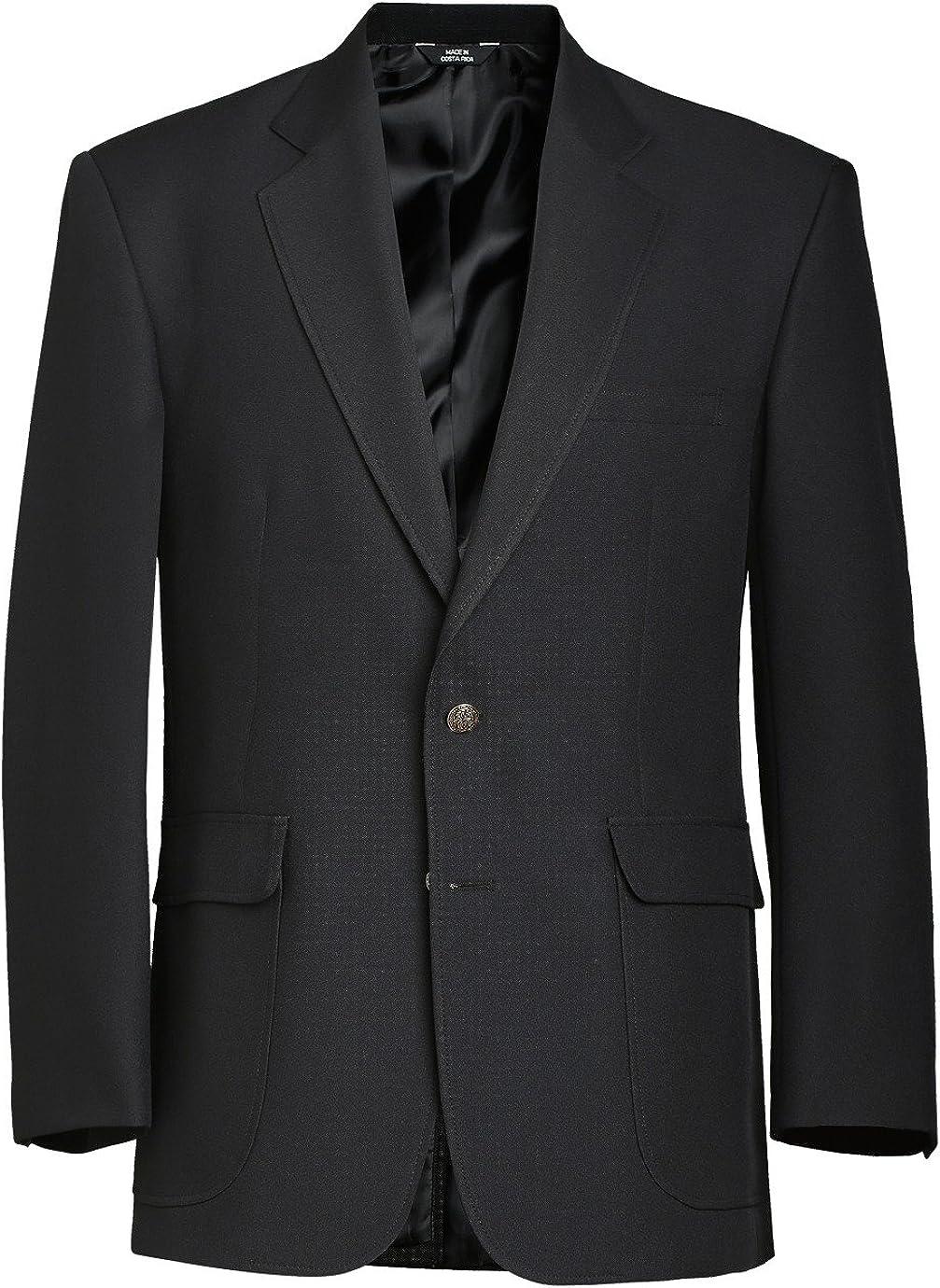 Edwards Men's Classic Two Button Single Breasted Blazer, Black, 38 Regular