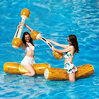 Inflatable Floating Row Toys Sets, Adult Children Pool Party Water Sports Games Log Rafts to Float Toys