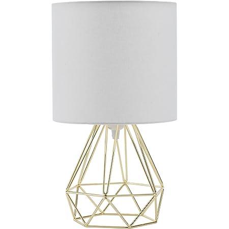 VONLUCE Lampe avec Pied Géométrique de Table de Nuit, Lampe de Chevet Dorée avec Abat-Jour Tambour en Tissu Blanc, Lampe à Poser d'Effet Cuivre Brossé(Doré)