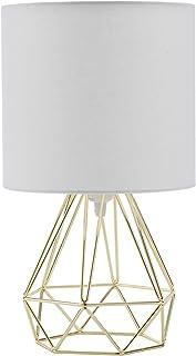 Sfeomi Lámpara de Mesa Diamante E27 Lampara para Mesillas de Noche Max 60W Lampara de Mesita de Noche Vintage 40cm Lámpara de Mesa Contemporáneas en Forma de Diamante (Dorado)