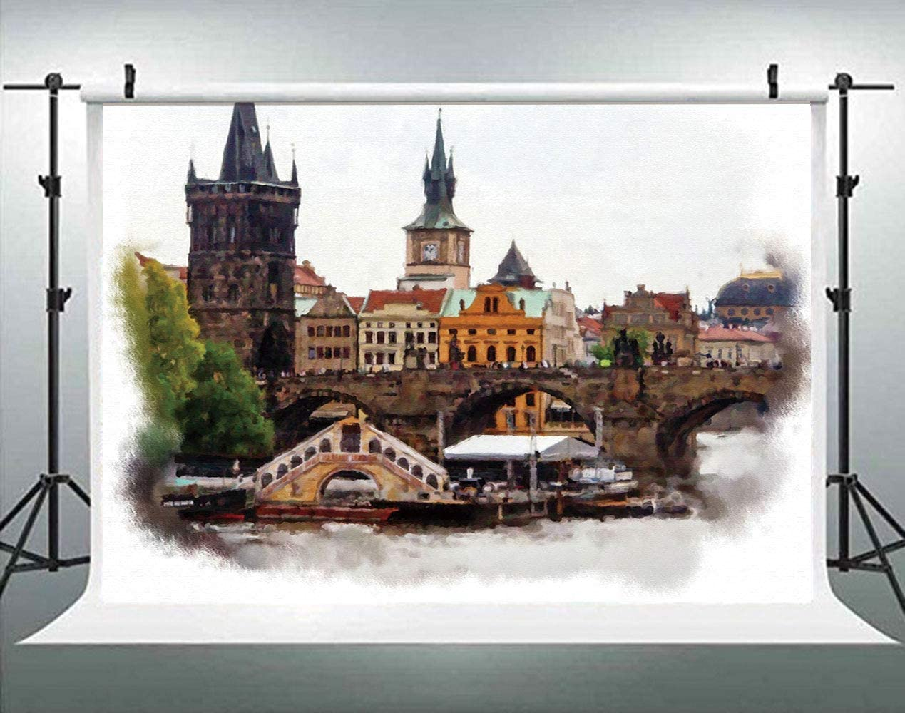 ALUONI 5x3ft Scenery Decor,European Country Landscape with Houses and River Backdrop for Photography Photo Background Props Photography AM028782