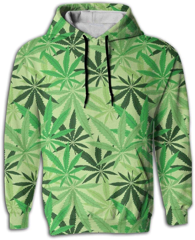 Wkylt Print Big Pockets Suit Green Hemp Floral Cannabis Hoodie