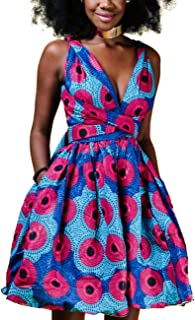 Women's Dashiki African Vintage 1950s Floral Printed V Neck Sleeveless Skirt Casual Evening Party Swing Bandage Dress