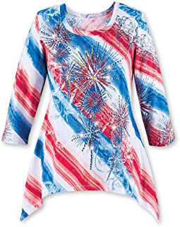 Diagonal Striped Starburst Sequin Fireworks Scoop Neck Top with 3/4 Sleeves - Festive Patriotic Shirt