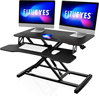 "FITUEYES Height Adjustable Standing Desk 32""/80cm Wide Sit Stand Desk Converter Tabletop Workstation with Large Keyboard T..."