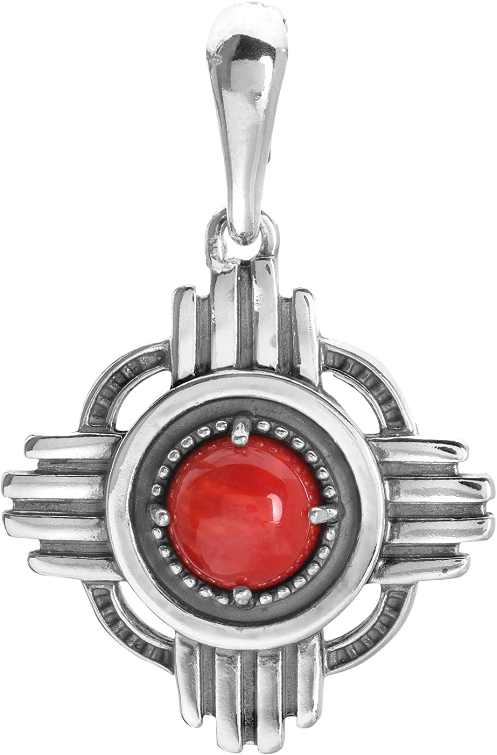 American West online shop Sterling Red Coral Enh Miami Mall Gemstone Pendant Zia Symbol