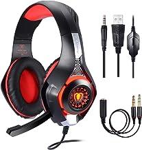Samoleus - Auriculares de 3,5mm en estéreo para videojuegos con iluminación LED, compatible con Playstation 4PS4 yordenador, con cancelación de sonido y control de volumen rojo
