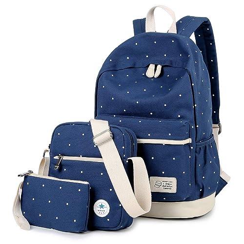 1d4499cbee39 MORGLOVE Polka Dot Rucksack School Bag Canvas for Women s and Teenage Girls  Laptop Backpack Messenger Bag