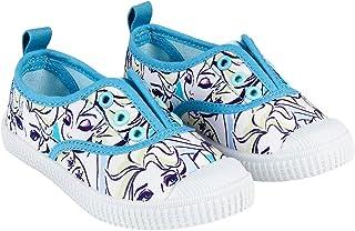 Zapatillas de Lona Niña Frozen Elsa Disney | Sin Cordones | Zapatos Elásticos | Blancos/Celestes | Tallas 24 a 31