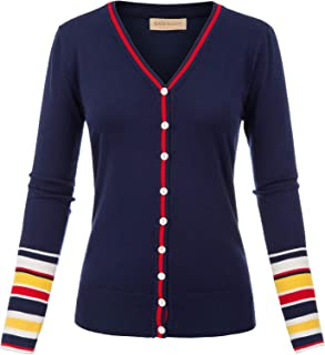Women's Long Sleeve Striped Snap Button Down Contrast Color V Neck Cardigans Sweater Coat