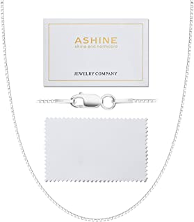 """ASHINE 925 Sterling Silver 1mm & 0.8 Italian Box Chain Necklace 16"""" - 30"""" with Silver Polishing Cloth"""