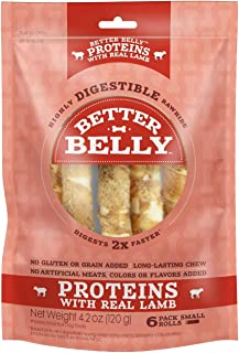 Better Belly Rawhides for Dogs, Digestible Rawhide Rolls, Proteins Made with Real Meat