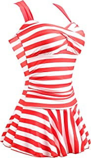 Women's One Piece Striped Slim Swim Dress Bathing Swimwear