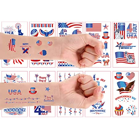 Soplus 10 Sheets Independence Day tattoos American flag stickers Independence Day Temporary Tattoos Patriotic Temporary Tattoos for USA Party Favors Decoretions Accessories