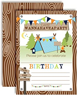 Camping Birthday Party Invitations for Boys, 20 5