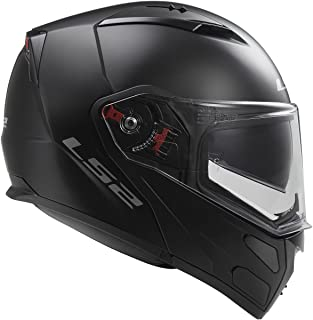 LS2 Helmets Metro Solid Modular Motorcycle Helmet with Sunshield (Matte Black, Large)