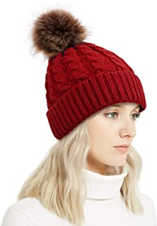 Lullaby Winter Rib-Knit Beanie Chunky Baggy Hat for Women Snow Cable Knit Skull Ski Cap with Faux Fur Pompom