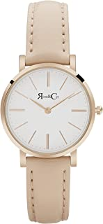Rose & Coy Women's Quartz Petite Pinnacle Ultra Slim 30mm Rose Gold Peach Leather Watch analog Display and Leather Strap, RCP0301