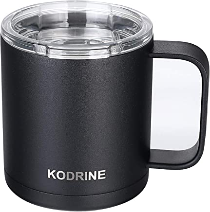 12 oz Double Wall Vacuum Insulated Stainless Steel Coffee Mug with Lid and Handle - BPA Free, Dishwasher Safe Black