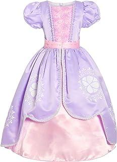 ReliBeauty - Vestido de princesa Sofía para disfraz, diseño de flores y encaje con cremallera