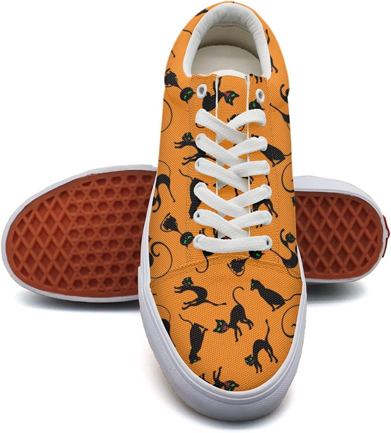 Feenfling Black Cats Bengal Cat orange Background Womens Light Canvas Boat shoes Low Top Hip Hop Tennis shoes for Women's