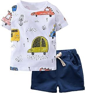 Boy Short Sleeve T-Shirt and Shorts Kid 2 Pcs Summer Outfit Clothing Set …