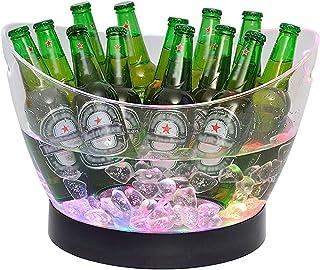 CJCSM Seau à Glace avec Base, Seau à Champagne de Grande capacité, seaux à bière Portables luminescents, Support à Glace p...