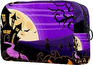 Damska torba do makijażu, kosmetyczka do przechowywania Halloween fioletowy zamek dynia do podróży, organizer na kosmetyki