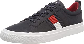 TOMMY HILFIGER Men's Flag Logo Leather Lace-Up Sneaker Trainers, Blue