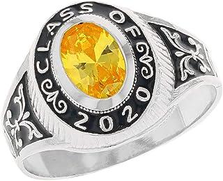 JackAni 10k White Gold Simulated Birthstone CZ 2020 Class Graduation Ring (Style#2567)