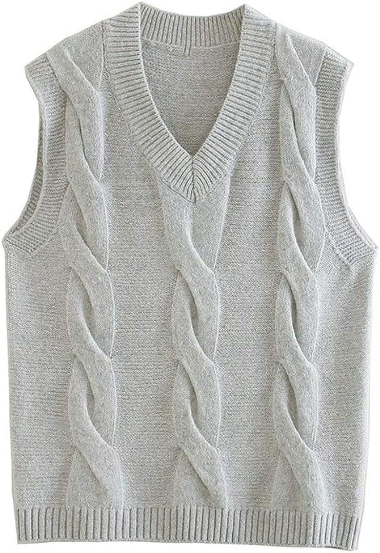 Mann Sleeveless Sweater V Neck Loose Knit Pullovers Vest Ladies Knitwear Waistcoat