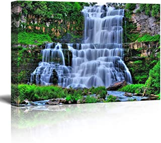 """TWO CREATORS Natural Waterfall Designer Painting with Wooden Frame (Frame. Size 23""""x15"""") with 3D Art.1 (multy)"""