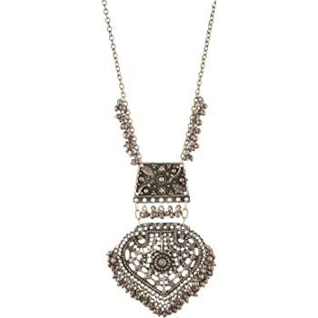 Zephyrr Fashion Oxidized Silver Turkish Long Pendant Necklace with Tassels for Girls and Women